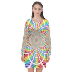 Color Background Structure Lines Rainbow Long Sleeve Chiffon Shift Dress