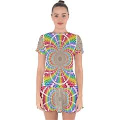 Color Background Structure Lines Rainbow Drop Hem Mini Chiffon Dress by AnjaniArt