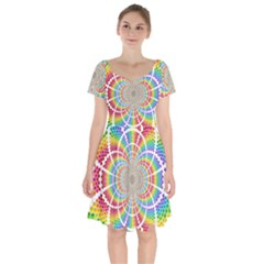 Color Background Structure Lines Rainbow Short Sleeve Bardot Dress