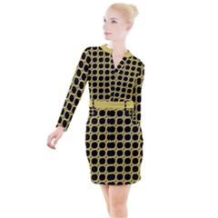 Between Circles Button Long Sleeve Dress by TimelessFashion