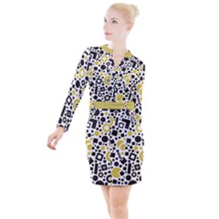 Black Versus Ceylon Yellow  Button Long Sleeve Dress by TimelessFashion