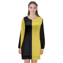Black   Ceylon Yellow Long Sleeve Chiffon Shift Dress