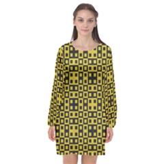 Ceylon Yellow Blocks Long Sleeve Chiffon Shift Dress