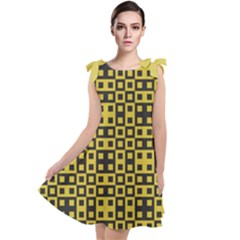 Ceylon Yellow Blocks Tie Up Tunic Dress by TimelessFashion