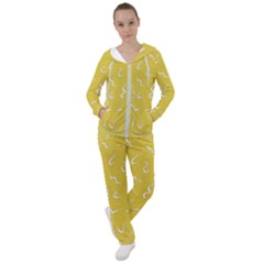 Ceylon Yellow Scribbles Women s Tracksuit by TimelessFashion