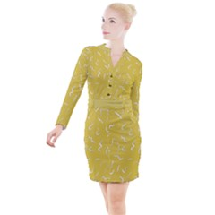 Ceylon Yellow Scribbles Button Long Sleeve Dress by TimelessFashion