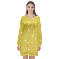 Ceylon Yellow Scribbles Long Sleeve Chiffon Shift Dress  by TimelessFashion