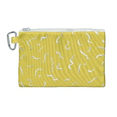 Ceylon Yellow Scribbles Canvas Cosmetic Bag (large) by TimelessFashion