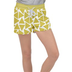 Ceylon Yellow Triangles Women s Velour Lounge Shorts by TimelessFashion