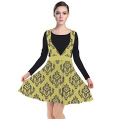 Damask Black On Ceylon Yellow  Plunge Pinafore Dress by TimelessFashion