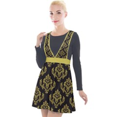 Damask Ceylon Yellow On Black Plunge Pinafore Velour Dress by TimelessFashion