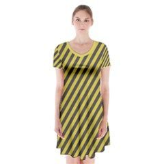 Diagonal Stripes    Short Sleeve V Neck Flare Dress by TimelessFashion