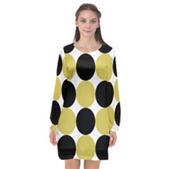 Dots Effect  Long Sleeve Chiffon Shift Dress