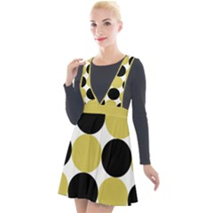 Dots Effect  Plunge Pinafore Velour Dress by TimelessFashion