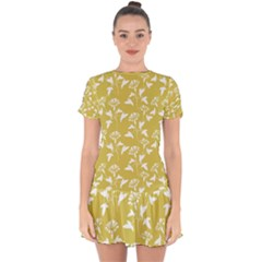 Floral Ceylon Yellow  Drop Hem Mini Chiffon Dress