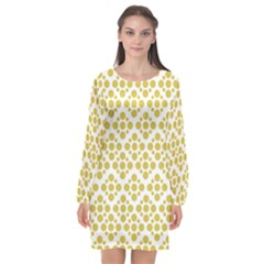 Floral Dot Series   Ceylon Yellow And White  Long Sleeve Chiffon Shift Dress  by TimelessFashion