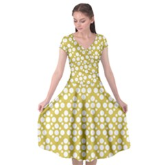 Floral Dot Series   White And Ceylon Yellow Cap Sleeve Wrap Front Dress