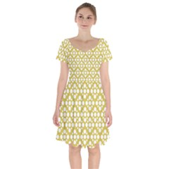 Floral Dot Series   White And Ceylon Yellow Short Sleeve Bardot Dress by TimelessFashion