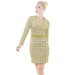 Odd Shaped Grid  Button Long Sleeve Dress by TimelessFashion