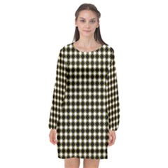 Square Effect  Long Sleeve Chiffon Shift Dress  by TimelessFashion