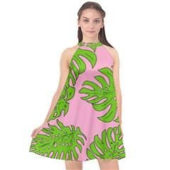 Leaves Tropical Plant Green Garden Halter Neckline Chiffon Dress  by Alisyart