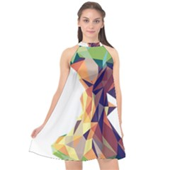 Illustrator Geometric Apple Halter Neckline Chiffon Dress