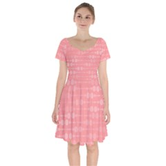 Background Polka Dots Pink Short Sleeve Bardot Dress