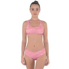 Background Polka Dots Pink Criss Cross Bikini Set