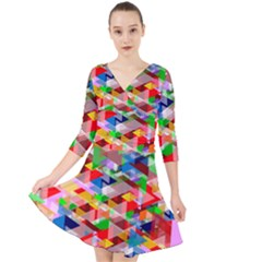 Background Triangle Rainbow Quarter Sleeve Front Wrap Dress by Mariart