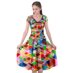Background Triangle Rainbow Cap Sleeve Wrap Front Dress by Mariart