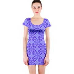 Blue Curved Line Short Sleeve Bodycon Dress by Mariart