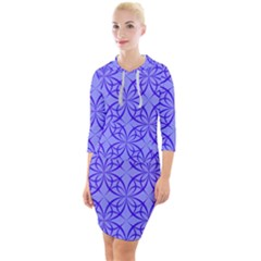 Blue Curved Line Quarter Sleeve Hood Bodycon Dress by Mariart