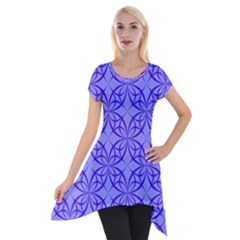 Blue Curved Line Short Sleeve Side Drop Tunic by Mariart