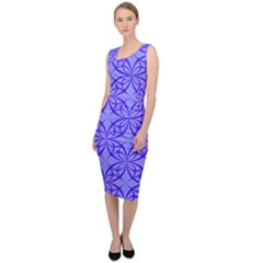 Blue Curved Line Sleeveless Pencil Dress by Mariart