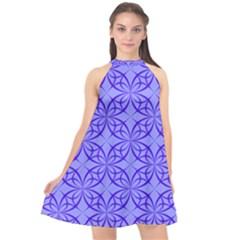 Blue Curved Line Halter Neckline Chiffon Dress