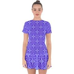 Blue Curved Line Drop Hem Mini Chiffon Dress