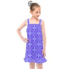 Blue Curved Line Kids  Overall Dress by Mariart