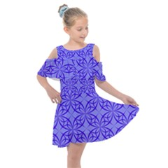 Blue Curved Line Kids  Shoulder Cutout Chiffon Dress by Mariart