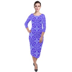 Blue Curved Line Quarter Sleeve Midi Velour Bodycon Dress by Mariart