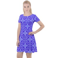 Blue Curved Line Cap Sleeve Velour Dress  by Mariart