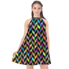 Abstract Geometric Halter Neckline Chiffon Dress