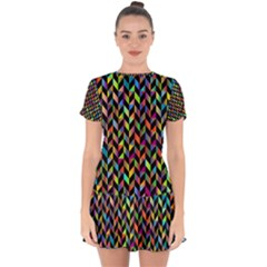 Abstract Geometric Drop Hem Mini Chiffon Dress