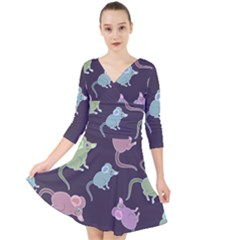 Animals Mouse Quarter Sleeve Front Wrap Dress by Mariart