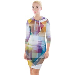 Abstract Background Quarter Sleeve Hood Bodycon Dress