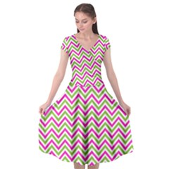 Abstract Chevron Cap Sleeve Wrap Front Dress by Mariart