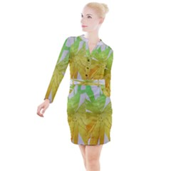 Abstract Background Tremble Render Button Long Sleeve Dress