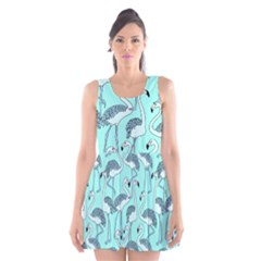 Bird Flemish Picture Scoop Neck Skater Dress by Mariart