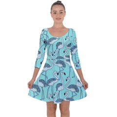 Bird Flemish Picture Quarter Sleeve Skater Dress by Mariart