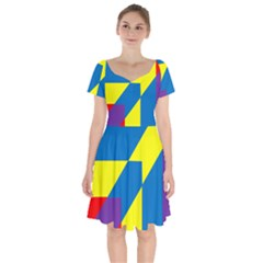 Colorful Red Yellow Blue Purple Short Sleeve Bardot Dress by Mariart