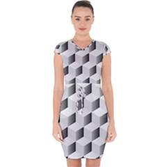 Cube Isometric Capsleeve Drawstring Dress  by Mariart